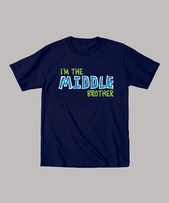 Navy 'I'm the Middle Brother' Tee - Toddler & Boys