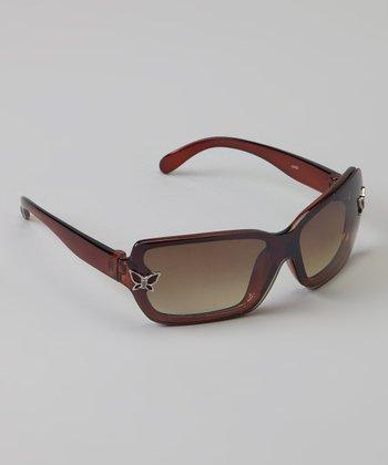 Golden Bridge International Brown Butterfly Sunglasses