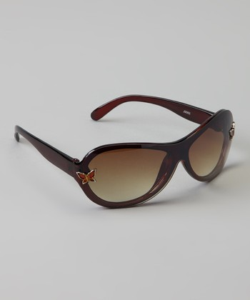 Brown Butterfly Oval Sunglasses
