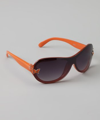Peach Butterfly Oval Sunglasses