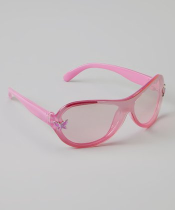 Pink Butterfly Oval Sunglasses