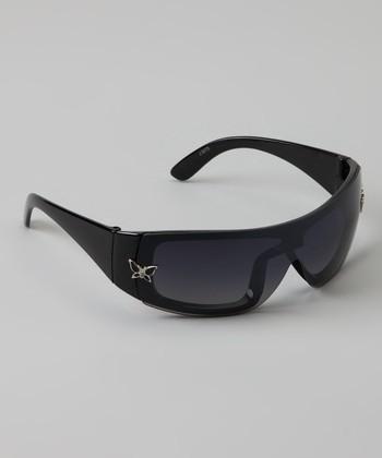 Golden Bridge International Black Butterfly Wrap Sunglasses