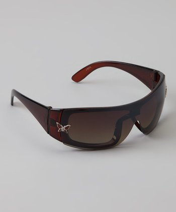 Brown Butterfly Wrap Sunglasses