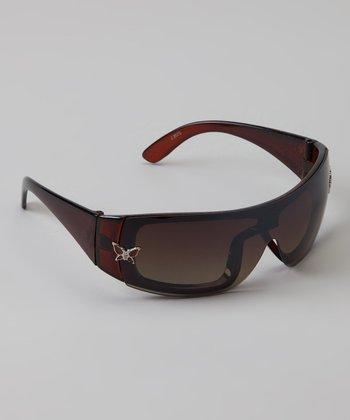 Golden Bridge International Brown Butterfly Wrap Sunglasses