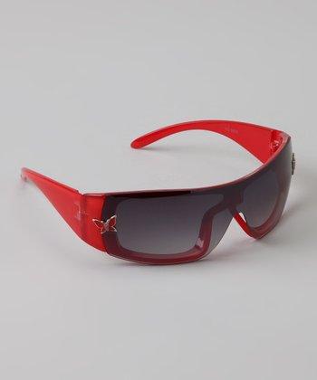 Golden Bridge International Red Butterfly Wrap Sunglasses