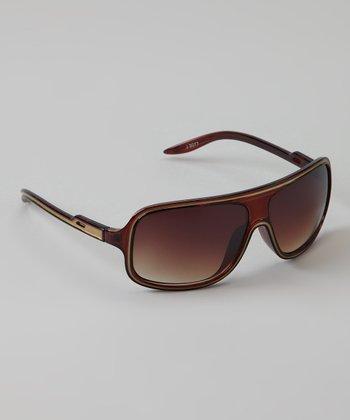 Golden Bridge International Brown Wrap Sunglasses
