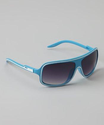 Golden Bridge International Light Blue Wrap Sunglasses