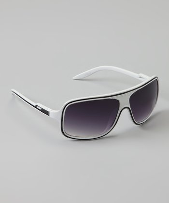 Golden Bridge International White Wrap Sunglasses