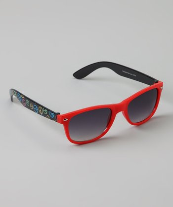 Golden Bridge International Red & Black Peace Sunglasses