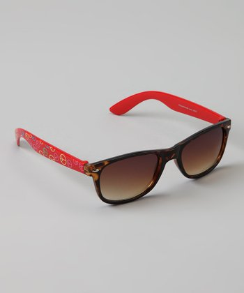 Brown Tortoise & Red Peace Sunglasses