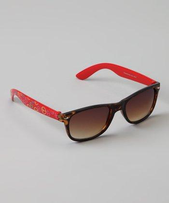 Golden Bridge International Brown Tortoise & Red Peace Sunglasses