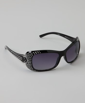 Golden Bridge International Black Double-Strand Rhinestone Sunglasses