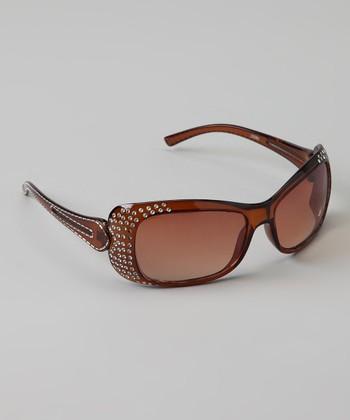 Golden Bridge International Brown Double-Strand Rhinestone Sunglasses