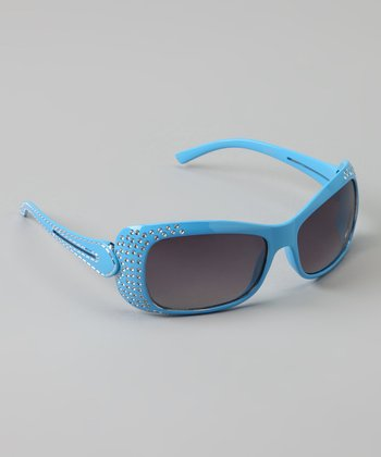 Light Blue Double-Strand Rhinestone Sunglasses
