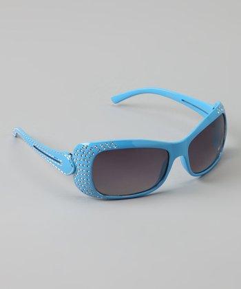 Golden Bridge International Light Blue Double-Strand Rhinestone Sunglasses