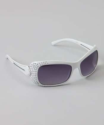 White Double-Strand Rhinestone Sunglasses