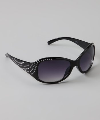 Golden Bridge International Black Rhinestone Sunglasses