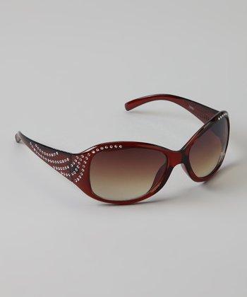 Golden Bridge International Brown Rhinestone Sunglasses