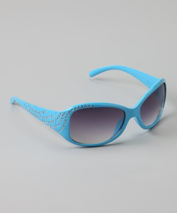 Golden Bridge International Light Blue Rhinestone Sunglasses