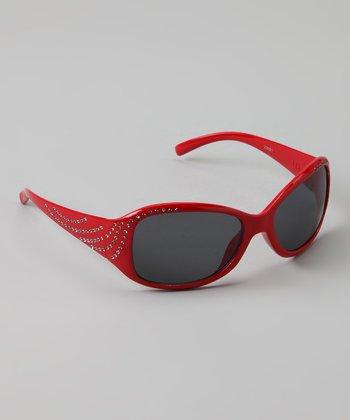 Golden Bridge International Red Rhinestone Sunglasses