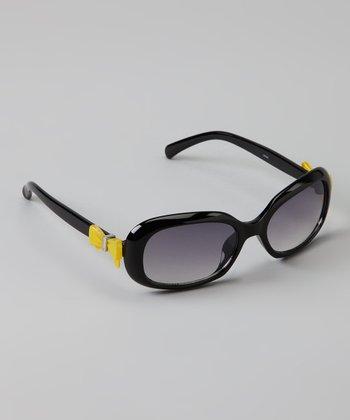 Golden Bridge International Black & Yellow Bow Sunglasses
