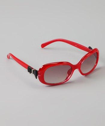Golden Bridge International Red & Black Bow Sunglasses