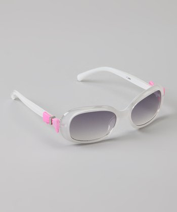 White & Pink Bow Sunglasses