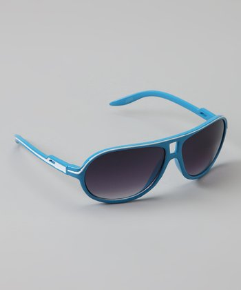 Light Blue Stripe Sunglasses