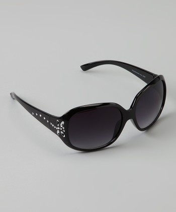 Black Rhinestone Butterfly Sunglasses
