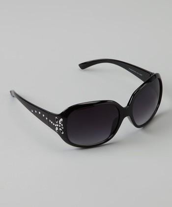 Golden Bridge International Black Rhinestone Butterfly Sunglasses