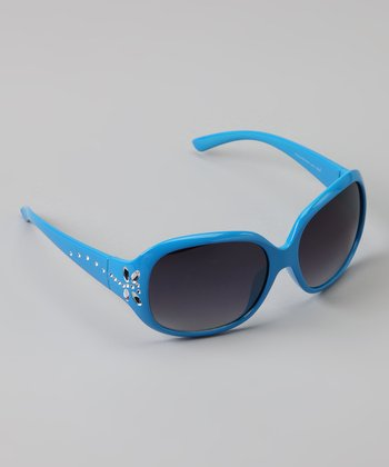 Blue Rhinestone Butterfly Sunglasses