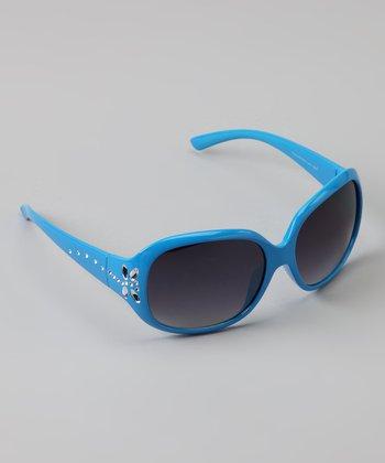 Golden Bridge International Blue Rhinestone Butterfly Sunglasses
