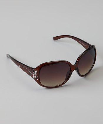 Golden Bridge International Brown Rhinestone Butterfly Sunglasses