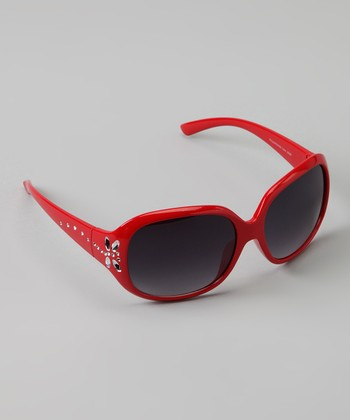 Red Rhinestone Butterfly Sunglasses