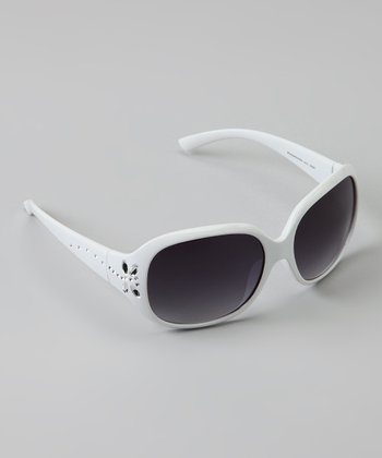 White Rhinestone Butterfly Sunglasses
