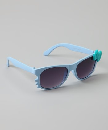 Light Blue Kitten Bow Sunglasses