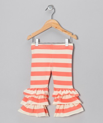 Coral & White Ruffle Leggings - Infant, Toddler & Girls