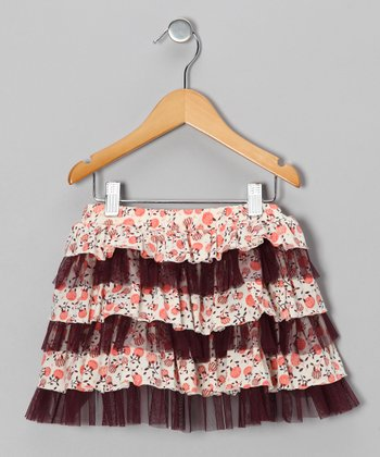 Coral Blossom Tiered Ruffle Skirt - Toddler & Girls
