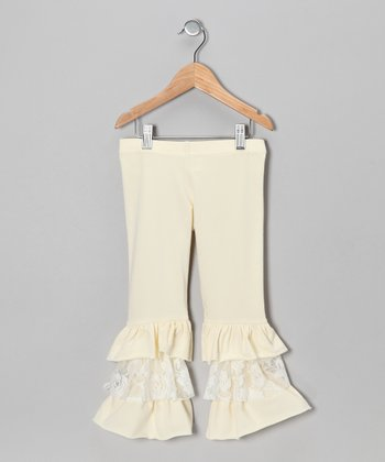 White Lace Ruffle Leggings - Girls