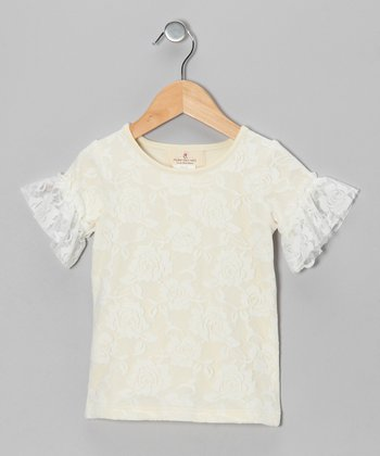 White Lace Ruffle Tee - Toddler & Girls