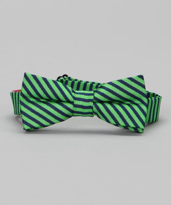 Green Stripe Bow Tie