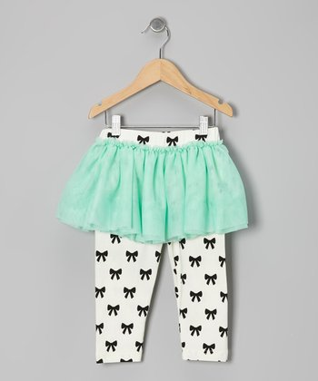 Mint & Black Bow Skirted Leggings - Infant & Toddler
