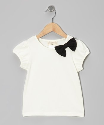 White & Black Bow Puff-Sleeve Tee - Infant & Toddler