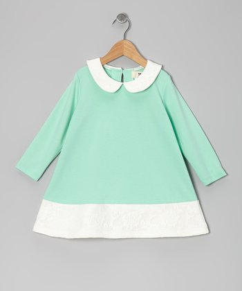 Mint & White Floral Peter Pan Tunic - Girls