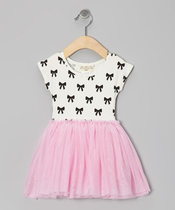 White & Pink Bow Dress - Infant, Toddler & Girls