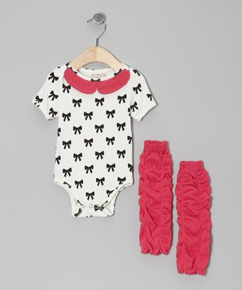 White Bow Bodysuit & Ruffle Leg Warmers - Infant