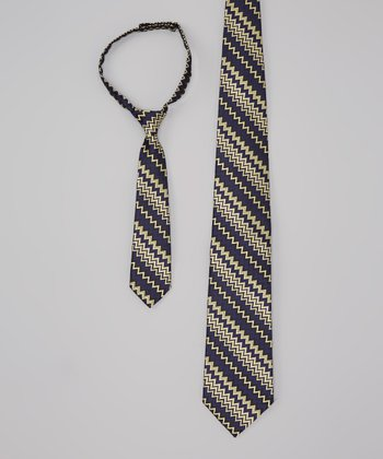 Navy & Tan Stripe Tie Set