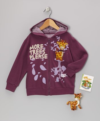 Eggplant Gyro Giraffe Zip-Up Hoodie Set - Toddler & Girls