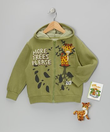 Olive Gyro Giraffe Zip-Up Hoodie Set - Toddler & Boys