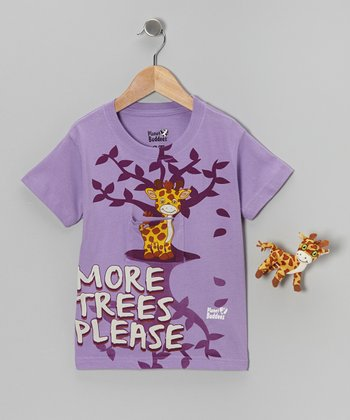 Lavender Gyro Giraffe Tee Set - Toddler & Girls